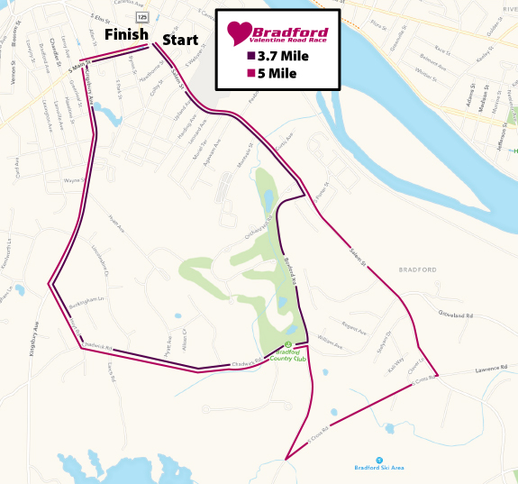 Bradford Valentine Road Race Course Map