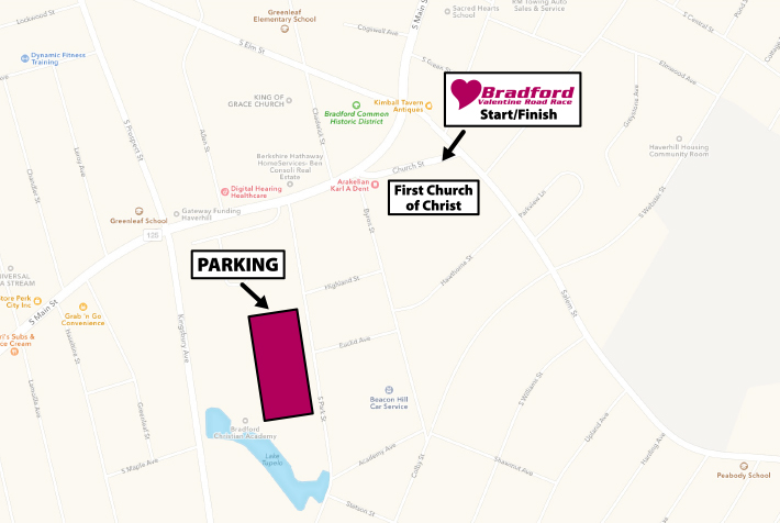 Parking for the Bradford Valentine Road Race